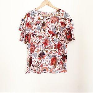 LOFT   floral print ruffle blouse